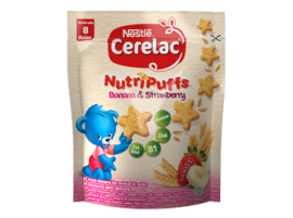 Awal Sehat Nestlé, Cerelac Nutfipuff Banana Strawberry : MPASI